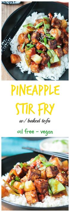 Pineapple Stir Fry w/ Baked Tofu - crisp veggies sweet pineapple chewy baked tofu - all smothered in a sweet salty sticky stir fry sauce. Dinner in under an hour! Dairy free vegan and a gluten free option. Tofu Recipes, Vegan Dinner Recipes, Asian Recipes, Whole Food Recipes, Vegetarian Recipes, Cooking Recipes, Healthy Recipes, Vegetarian Dish, Chicken Recipes