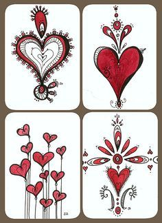 Valentines Day - The Hearts Collection by Jessica Doyle Tangle Doodle, Doodles Zentangles, Zen Doodle, Doodle Art, Doodle Patterns, Zentangle Patterns, Heart Doodle, Quilled Creations, Doodle Inspiration