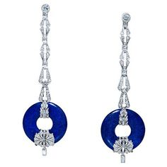 Art Deco Diamond & Lapis Lazuli Earrings, 1930s.