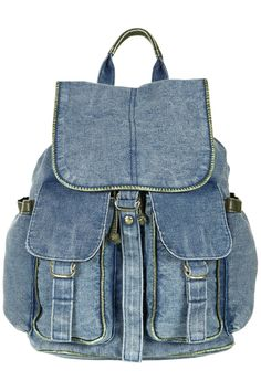 Acid wash denim backpack with leather-look trim - Topshop