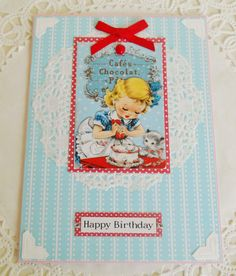 Retro Inspired Little Girl's Birthday Card by picocrafts on Etsy