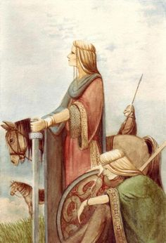Valkyries at Dawn, a water colour illustration for the book The Viking Gods by Clive Barrett