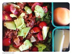 #healthylunch photo: Sloppy Joes (REAL Camping eCookbook Get REAL for Kids on Romaine with tomatoes & avocado and sides of raw cheese from Oliver Farms and an apricot. Jacob packed lunches for him and Lucas today. When I opened one to take a picture he just had the Sloppy Joes on the lettuce. I told him they needed a little more Colorful Carbs & Friendly Fat - at least for the photo to look better if nothing else and he just laughed.