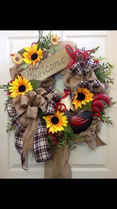 Rooster Wreath Summer Wreath Burlap Wreath by WilliamsFloral, $115.00