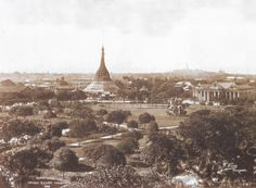 Fytche Square and Sule Pagoda, Rangoon (Yangon) by Philip Adolphe Klier in 1890s in Burma (Myanmar).Rangoon's most famous stupa, the Shwe Dagon Pagoda, can be seen silhouetted on the horizon.
