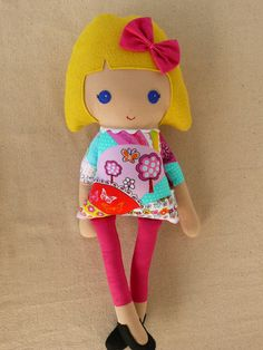 Reserved for Vanessa  Fabric Doll Rag Doll Girl in por rovingovine