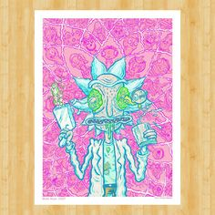 """Official Rick and Morty Print -  Kalaxian Crystal  Variant - Straight through a portal to an alternate universe,  it's a limited edition variant of my Rick and Morty print.  Named after the rare pink crystals that are Rick's only hope... to save the partayyyy!  Now available online only at Gallery 1988's site.  ⠀ — Nate Bear """"Get Down with The Rickness (Kalaxian Crystal variant)"""" Print, 18x24"""" giclee on archival paper,  limited edition of 35"""