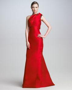 Bow-Shoulder Satin Gown by Carolina Herrera at Bergdorf Goodman.