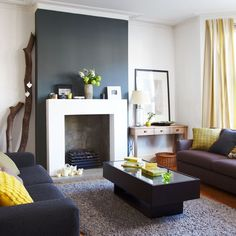 YModern living room in yellow and grey | Modern living room ideas | Living room | PHOTO GALLERY | Style at Home | Housetohome.co.uk