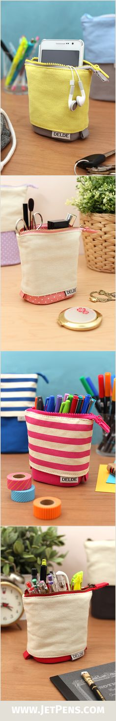 The convertible Sun-Star Delde Slide is a pen case and standing pen cup in one.