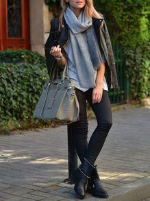 Grey Wrapped Loose T-Shirt -SheIn(Sheinside)