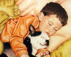 Sleeping Boy and Dog pastel art pet animal by DonnaPellegata