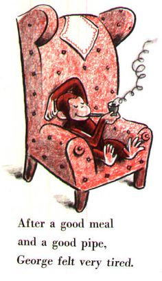 Curious George smoking a pipe.