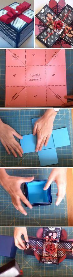 Christmas DIY: Explosion Box | Clic Explosion Box | Click Pic for 22 DIY Christmas Gifts for Boyfriends | Handmade Gifts for Men on a Budget #christmasdiy #christmas #diy