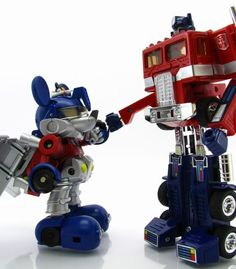 Transformers Disney Label Mickey Mouse and G1 Optimus Prime