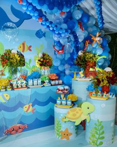 No photo description available. Baby Boy Birthday Themes, Boys 1st Birthday Cake, Boys First Birthday Party Ideas, Birthday Decorations, Pool Party Cakes, Bubble Guppies Birthday, Recipes, Kids Bday Party Ideas, Shark Party