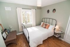 33 Garnerville Road, Belfast, farrow and ball paint, simple interiors, metal bed frame Ikea, Farrow And Ball Paint, Simple Interior, Metal Beds, Belfast, Remodels, House Painting, Bed Frame, Guest Room