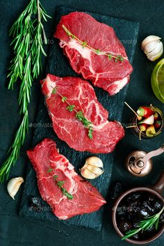 Buy raw meat by on PhotoDune. raw meat with aroma spice and sea salt Raw Food Recipes, Fish Recipes, Meat Recipes, Beef Ribs, Beef Steak, Steak Dishes, Food Dishes, Steak And Ale, Food Menu Design