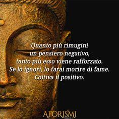 Quanto più rimugini un pensiero negativo, tanto più esso viene rafforzato. Se lo ignori lo farai morire di fame. Coltiva il positivo.