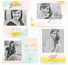 Painted Graduation 5x7 WHCC Cards by Oh Snap Boutique on @creativemarket Senior Announcements, Senior