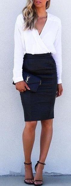 #summer #outfits White Shirt + Black Pencil Skirt + Black Sandals