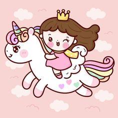 Unicornios Wallpaper, Kawaii Wallpaper, Princess Cartoon, Cute Princess, Unicorn Art, Cute Unicorn, Kawaii Chibi, Kawaii Art, Simple Cartoon