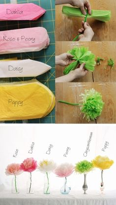 These are really fun to make...a quick and easy party decor to get rid of some of that extra tissue paper you have laying around! Tissue paper flowers with tutorial link http://rustsunshine.blogspot.ca/2012/05/tissue-paper-flowers.html