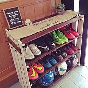 Entrance,セリア,すのこDIY,サッカー好き,初心者です。,靴箱 DIYに関連する他の写真