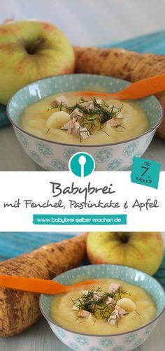Winterliches Rezept für Babybrei mit Fenchel, Pastinake, Hähnchen und Apfel. Dieser Mittagsbrei ist ab dem 7. Monat empfohlen.