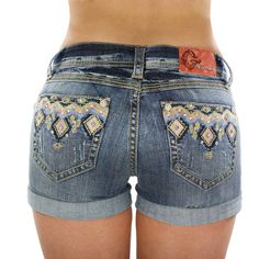 Grace in LA Women's Diamond Embroidered Shorts Cowgirl Outfits, Cowgirl Style, Cowgirl Tuff, Western Style, Denim And Diamonds, Diy Shorts, Mode Boho, Embroidered Shorts, Western Wear