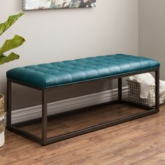 Add a stylish touch to any indoor space with this tufted leather bench from Healy. A beautiful teal upholstery and graphite grey metal frame highlights this bench. Upholstery Foam, Tufting Buttons, Furniture Outlet, Online Furniture, Teal Furniture, Living Room Furniture, Ottoman Furniture, Industrial Furniture, Tufted Bench
