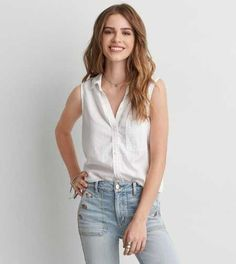 AEO Sleeveless Button Down Shirt - women with blouse, red flower blouse, blue and white polka dot blouse *sponsored https://www.pinterest.com/blouses_blouse/ https://www.pinterest.com/explore/blouses/ https://www.pinterest.com/blouses_blouse/womens-blouses/ http://www.forever21.com/Product/Category.aspx?category=top_blouses-shirts