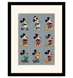 This eye catching print features Mickey Mouse illustrations, charting his evolution from 1928 to the present day. A real treat for any Mickey fan!