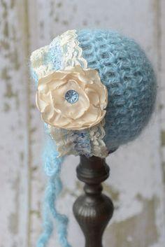 Light Blue Mohair Newborn Bonnet, Photo Prop, Baby Gift