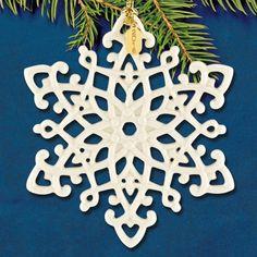 Lenox Cheer Porcelain Snowflake Charm Ornament Christmas Holiday Free Shipping