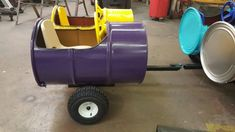 Double 55 Gallon Barrel Train Car / Wagon - Purple and Yellow, side by side ride Backyard Playground, Backyard For Kids, Backyard Games, Backyard Projects, Outdoor Projects, Barrel Train, Kids Wagon, Trains For Sale, Train Party