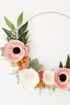 Handmade Felt Floral Wreath | alisonmichel on Etsy