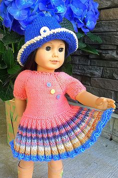 My American Girl Doll, American Doll Clothes, Baby Doll Clothes, Knitted Doll Patterns, Doll Dress Patterns, Knitted Dolls, Crochet Doll Dress, Crochet Doll Clothes, Baby Born Kleidung