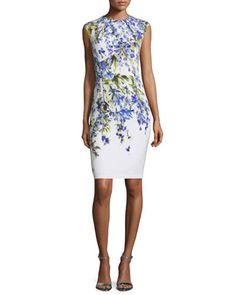 B36KS St. John Collection Budding Floral-Print Sheath Dress, Bianco/Multi