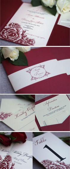 Leonie Gordon London Luxury Burgundy & Black Pocketfold Wedding Invitation Suite with Roses xx
