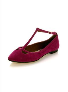 Elsie Pink Pointed T-Bar Flat - Shoes