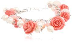 Sterling Silver Rose Quartz Floral 9mm Freshwater Cultured Pearl Bracelet