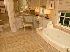 Interior design for Elegant Feminine Bathroom with wooden furniture