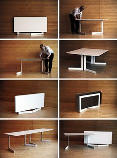 Foldable-dining-table 83 Creative & Smart Space-Saving Furniture Design Ideas in 2017 Folding Kitchen Table, Foldable Dining Table, Folding Dining Chairs, Kids Folding Table, Foldable Chairs, Dining Table Design, Dining Table Chairs, Kitchen Tables, Folding Furniture