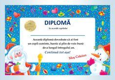 Diplome de la Moș Crăciun - model 1 1 Preschool Christmas Crafts, Kids Christmas, Anul Nou, Montessori, Activities For Kids, Frame, Winter, Creative, Model