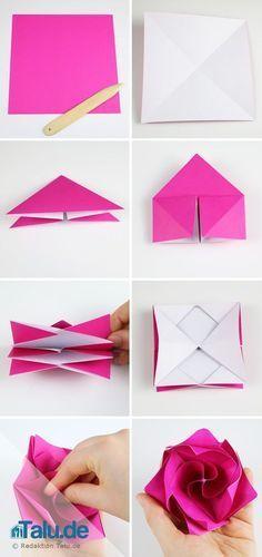 Origami Rose aus Papier falten – DIY-Anleitung – Origami Community : Explore the best and the most trending origami Ideas and easy origami Tutorial Rosa Origami, Origami Ball, Origami Folding, Useful Origami, Paper Folding, Origami Envelope, Origami Koi, Origami Tattoo, Dollar Origami