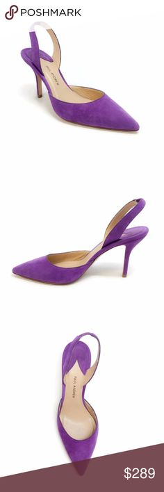 """Paul Andrew Aw Suede Purple Suede Pumps Paul Andrew breathes new life into the iconic slingback pump with this AW design. Crafted in Italy from soft suede, this fun purple pair come with a streamlined pointed toe and a mid heel. Let yours punctuate sharp power suits.  Heel height is 3.5"""".  Original box and dust bag are included.  Slight marks on the soles from in store try on.  Please note, as with most shoes made in Italy, they may run small.  10849-475 Paul Andrew Shoes Heels"""