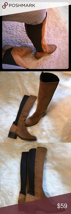 """Aldo Cognac Suede Tall contrast Stretch Boots Easy on and off and whether you have narrower or wider calves, these beautiful boots have you covered. Cognac rugged suede with black elastic insets. Excellent pre-loved condition. Size 8.5. 17.5"""" height. 1.75"""" heel. 12.5""""-16"""" approximate calf. Aldo Shoes"""