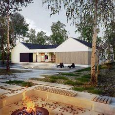 Dworek polski II - dom parterowy, atrialny   doomo House Exteriors, Interior And Exterior, Interiors, Live, Outdoor Decor, Design, Home Decor, The World, Architecture