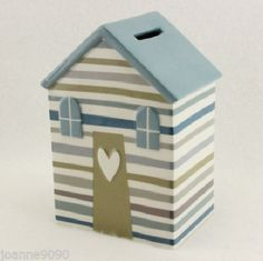 GISELA GRAHAM SHORELINE BEACH HUT CERAMIC MONEY BOX NAUTICAL SEASIDE HOME GIFT